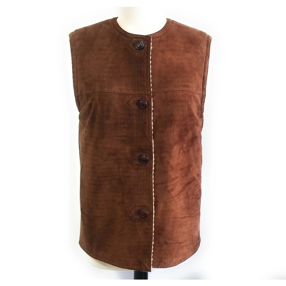 GUCCI Womens Reversible Suede Knit Vest Size M